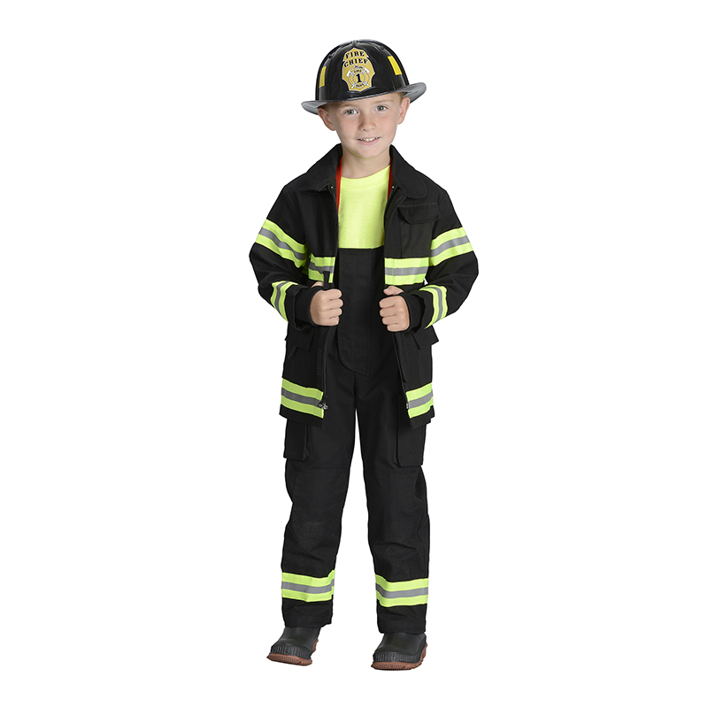 Black Firefighter Jacket & Biboveralls W/ Suspenders Size 6-8