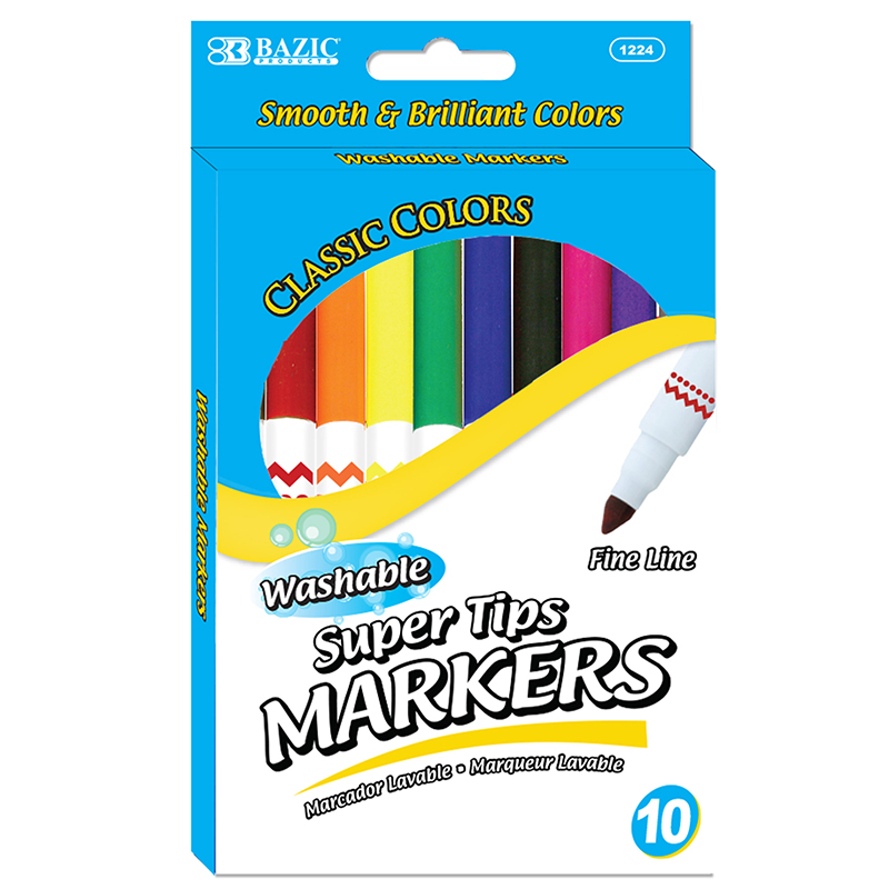 Washable Markers Super Tip 10 Colrs