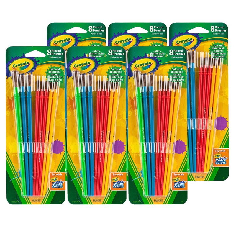 (6 Pk) Art & Craft Brush Set 8 Ctper Blister Pk