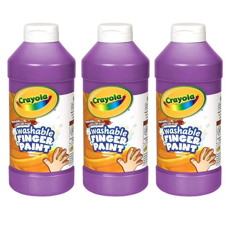 (3 Ea) Washable Fingerpaint 16ozviolet