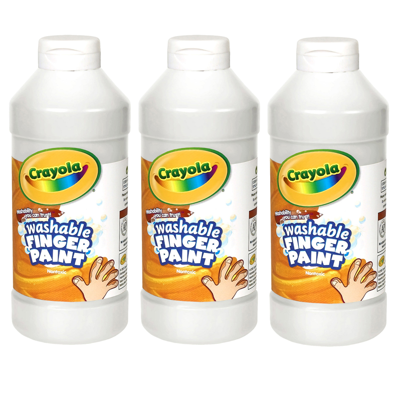 (3 Ea) Washable Fingerpaint 16ozwhite