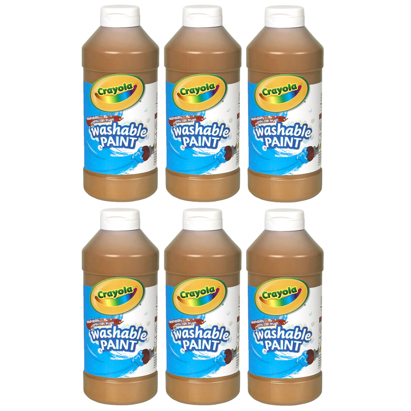 (6 Ea) Crayola Washable Paint 16 Ozbrown