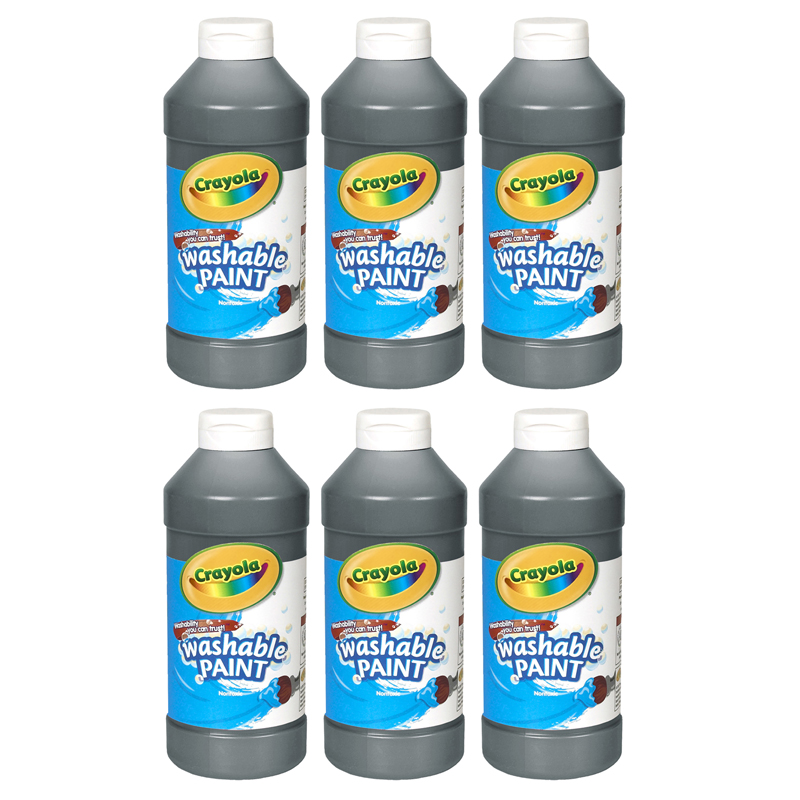 (6 Ea) Crayola Washable Paint 16 Ozblack