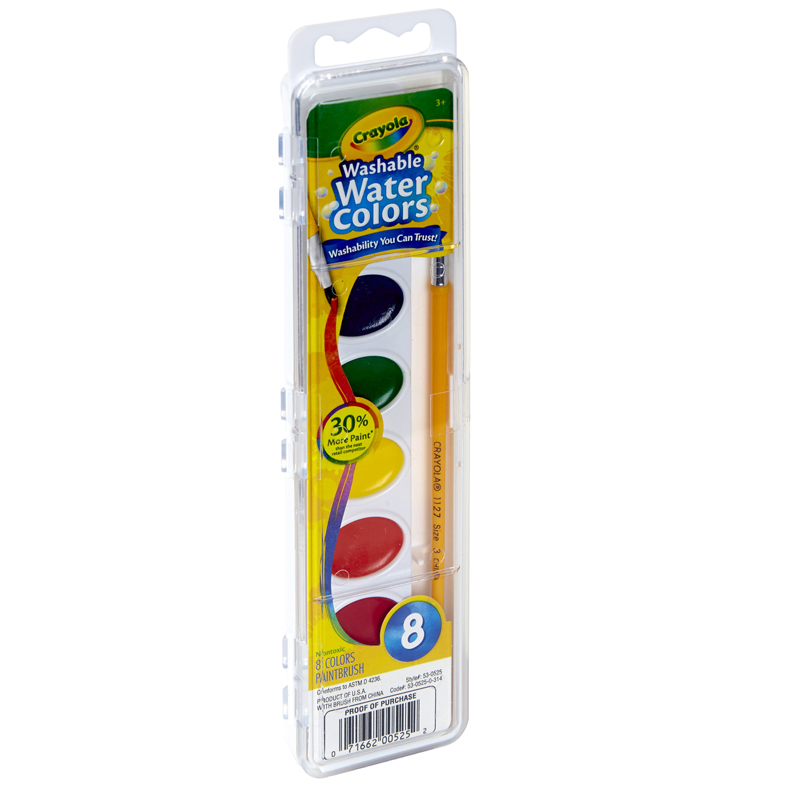 Washable Watercolors 8 W/brush