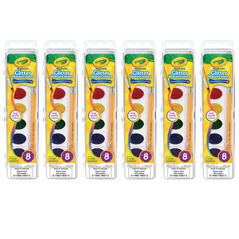 (6 Pk) Crayola Watercolor Glitterwash 8pk