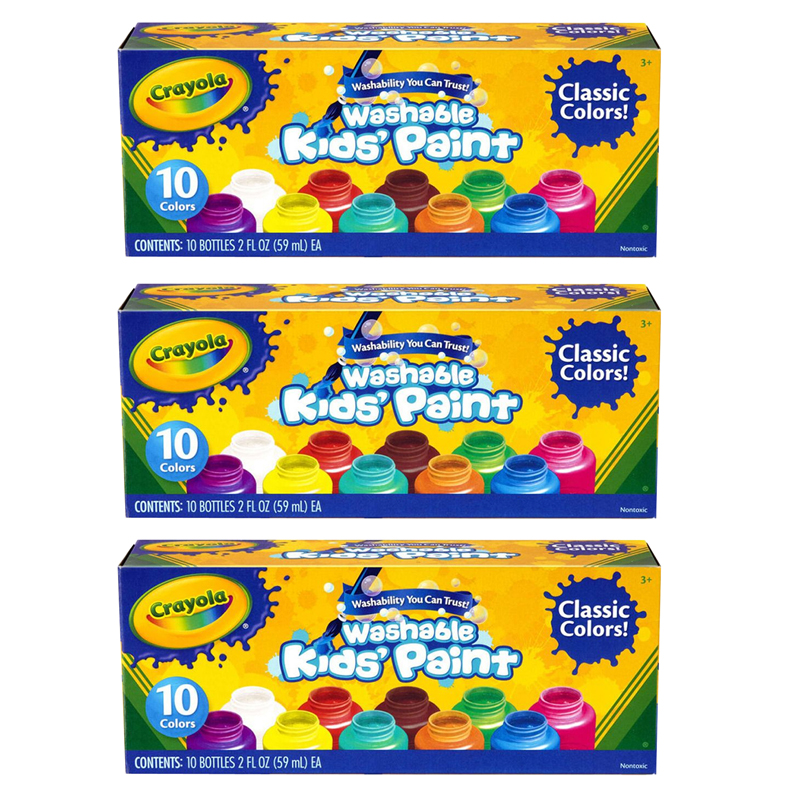 (3 Bx) Washable Kids Paint Set Of 10 Jars