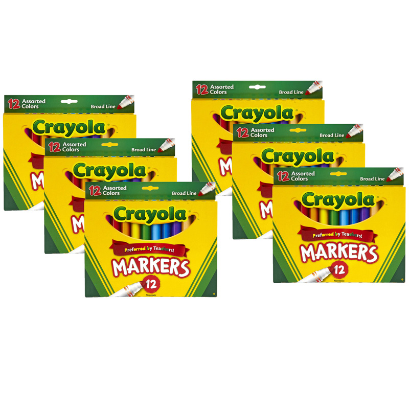 (6 Bx) Crayola Markers 12ct Per Bxasst Colors Conical Tip