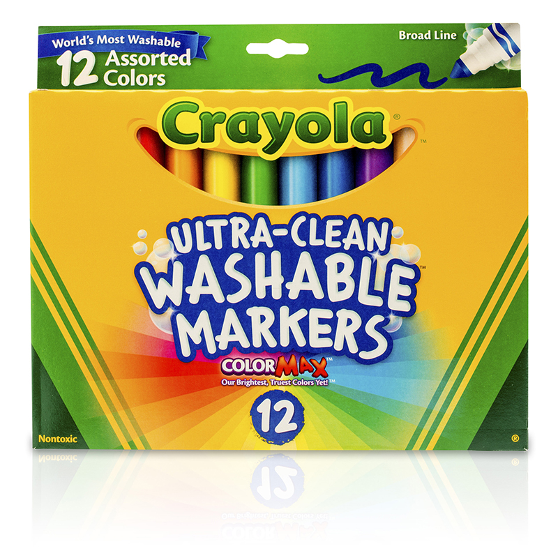 Crayola Washable Markers 12ct Asstcolors Conical Tip