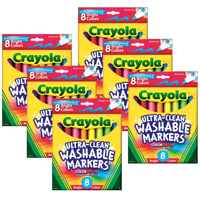 (6 Bx) Crayola Washable 8ct Per Bxbright Colors Conical Tip