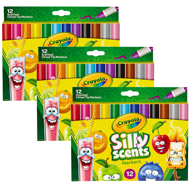 (3 Pk) Crayola Silly Scent 12per Pkchisel Tip Washable Marker