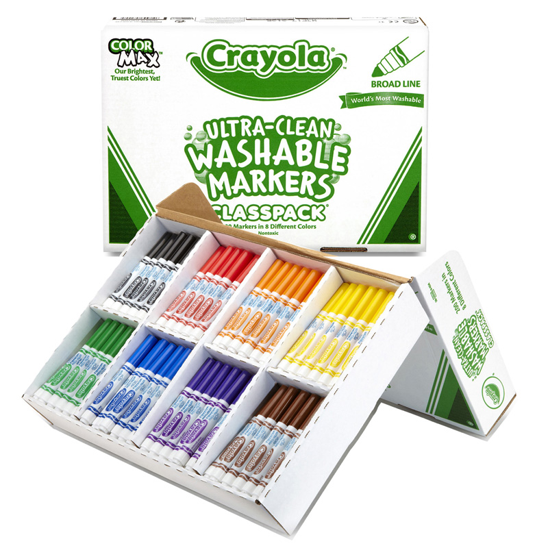 Crayola Washable Markers Classpack200ct 8 Colors Broad Line