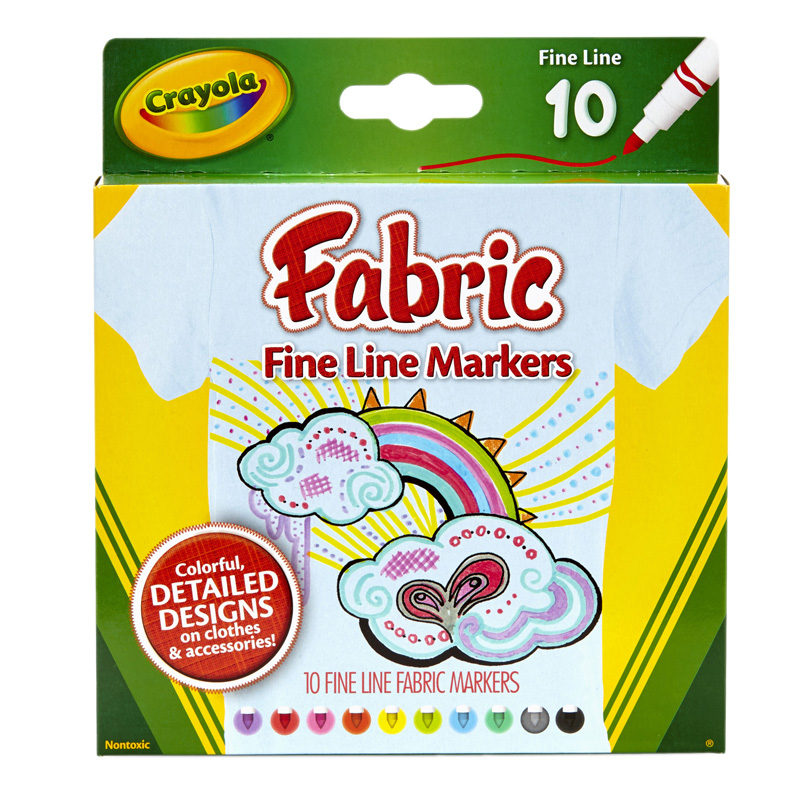 Crayola Fine Line Fabric Markers10 Colors