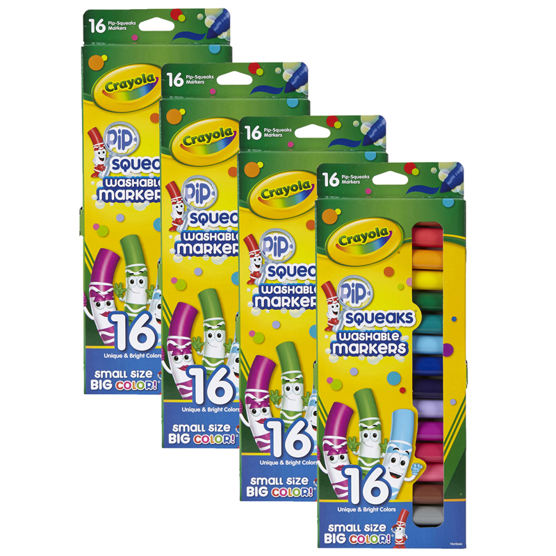 (4 Pk) Pip Squeaks Markers 16 Ctshort Washable In Peggable Pouch