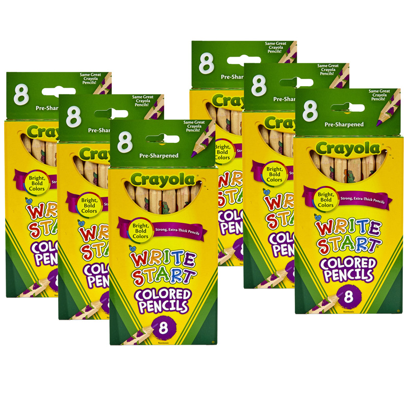 (6 Bx) Crayola Write Start 8ct Perbx Colored Pencils
