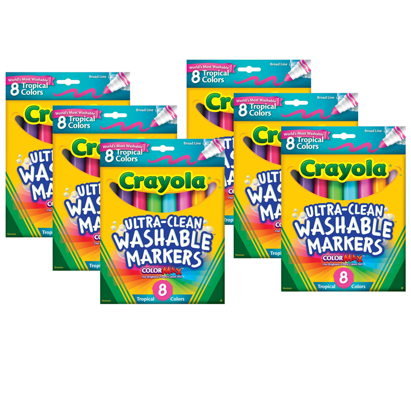 (6 Bx) Washable Markers 8ct Per Bxtropical Colors Conical Tip