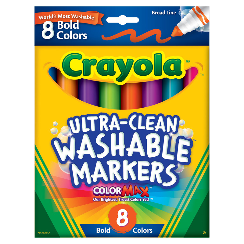 Washable Markers 8 Pk Bold Colorsbroad Line