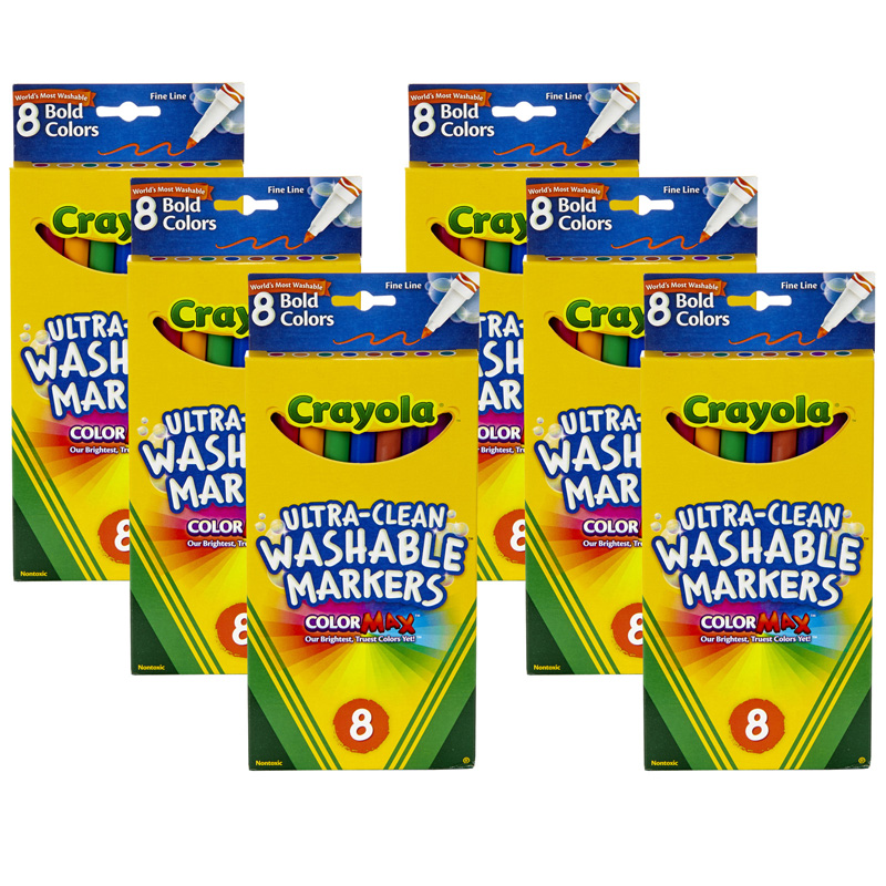 (6 Bx) Washable Markers 8ct Per Bxbold Colors Fine Tip