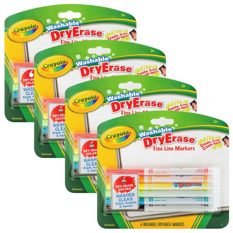 (4 Pk) Crayola Color Washable Dryerase Markers 6 Per Pk