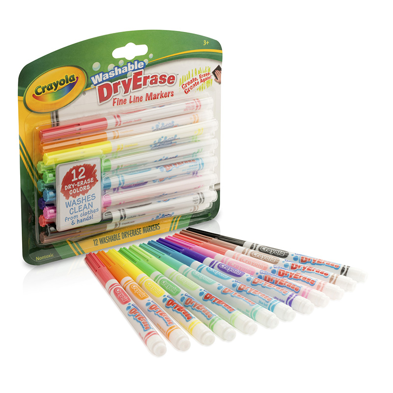 Crayola 12 Color Washable Dry Erasemarkers