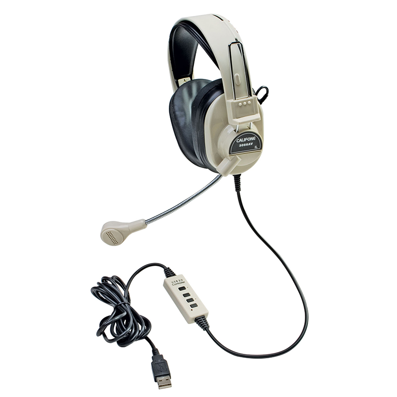 Deluxe Multimedia Stereo Headset W/boom Microphone W/ Usb Plug
