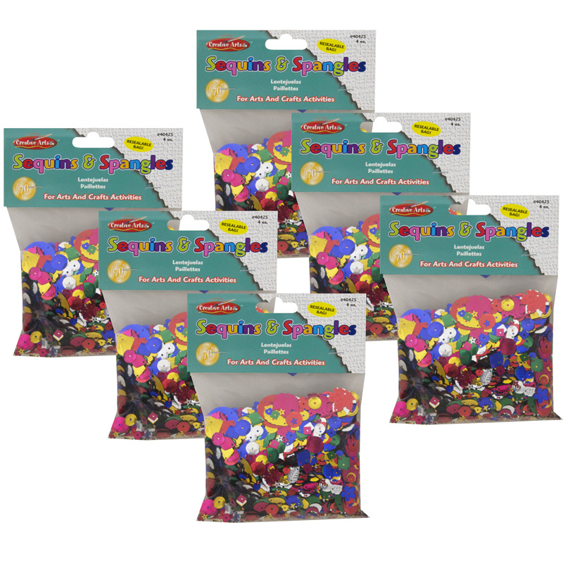 (6 Pk) Glittering Sequins Withspangles 4oz Resealable Bag