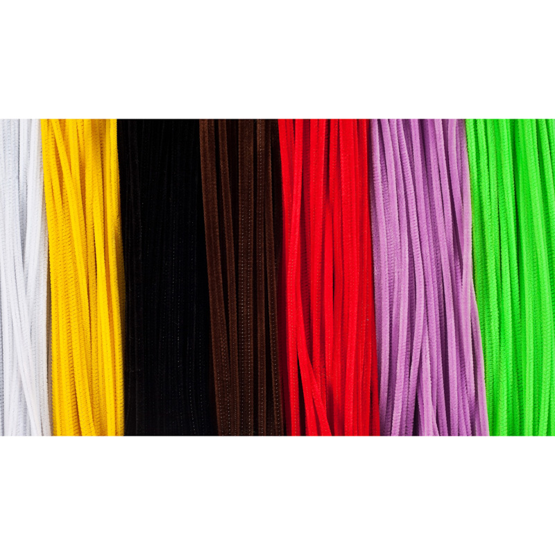Chenille Stems 6in Asst Clrs