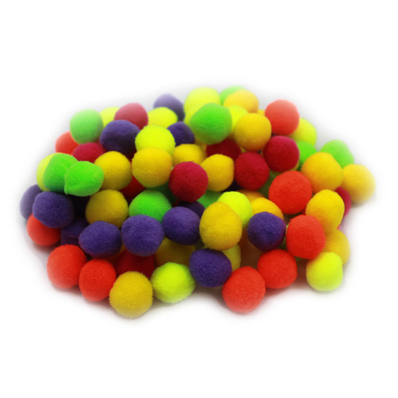 Pom Poms .5in Hot Colors 100ct
