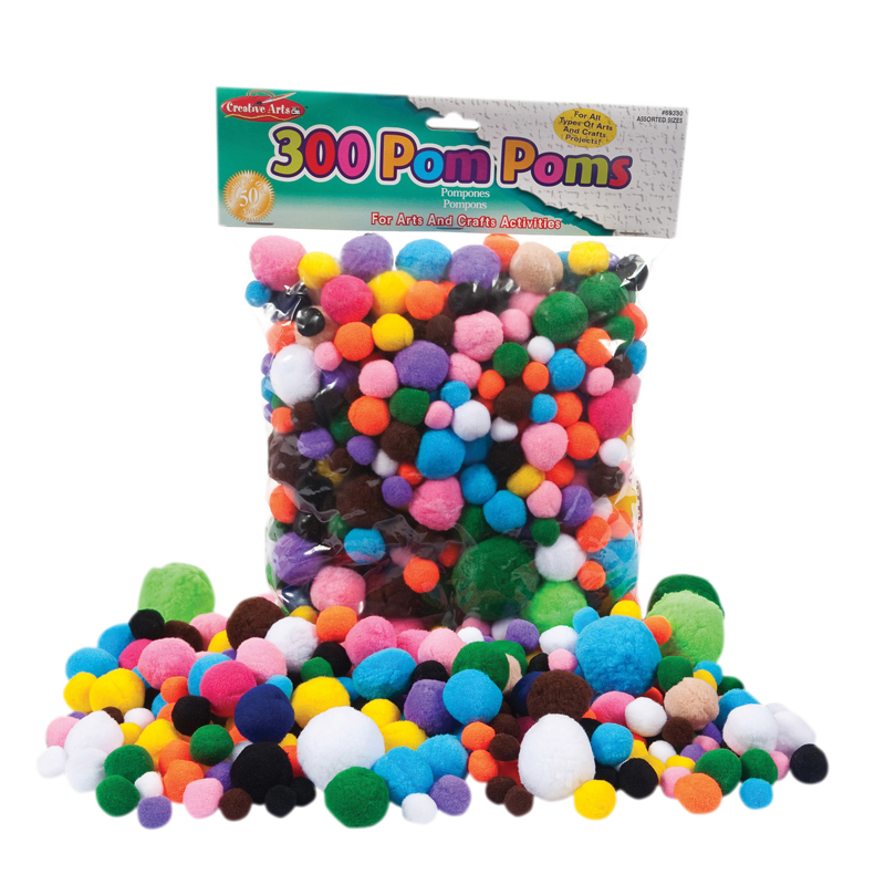 Pom Poms Asst Sizes & Colors 300ct