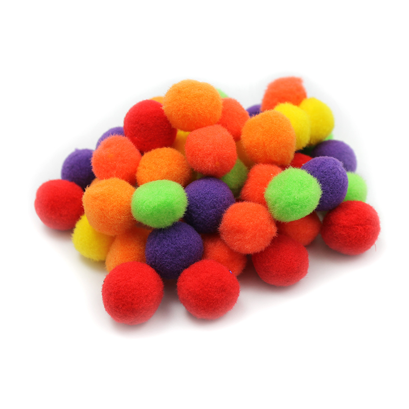 Pom Poms 1in Hot Colors 50ct