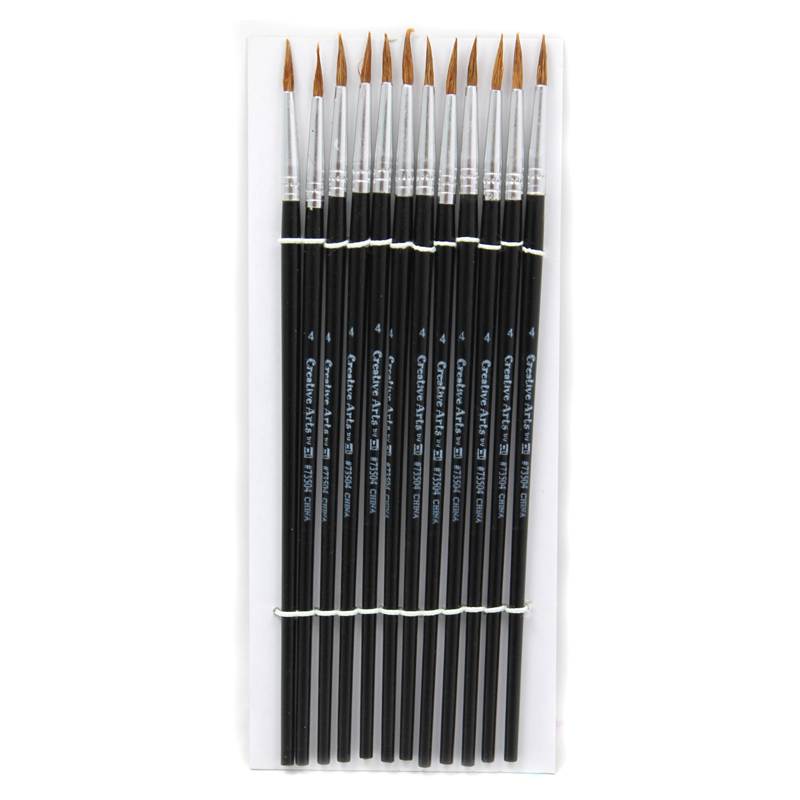 (6 Pk) Paint Brushes Pointed#4 9/16 Camel Hair 12 Per Pack