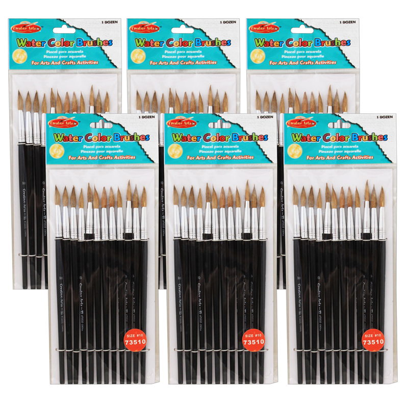 (6 Pk) Paint Brushes Pointed#10 15/16 Camel Hair 12 Per Pack