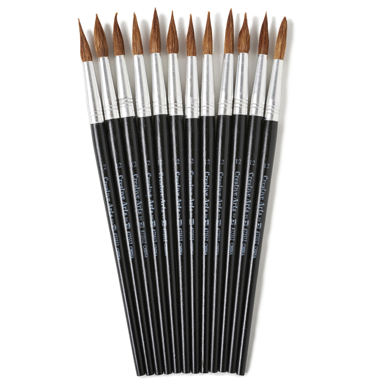 Brushes Water Color Pointed #121-1/16 Camel Hair 12 Ct