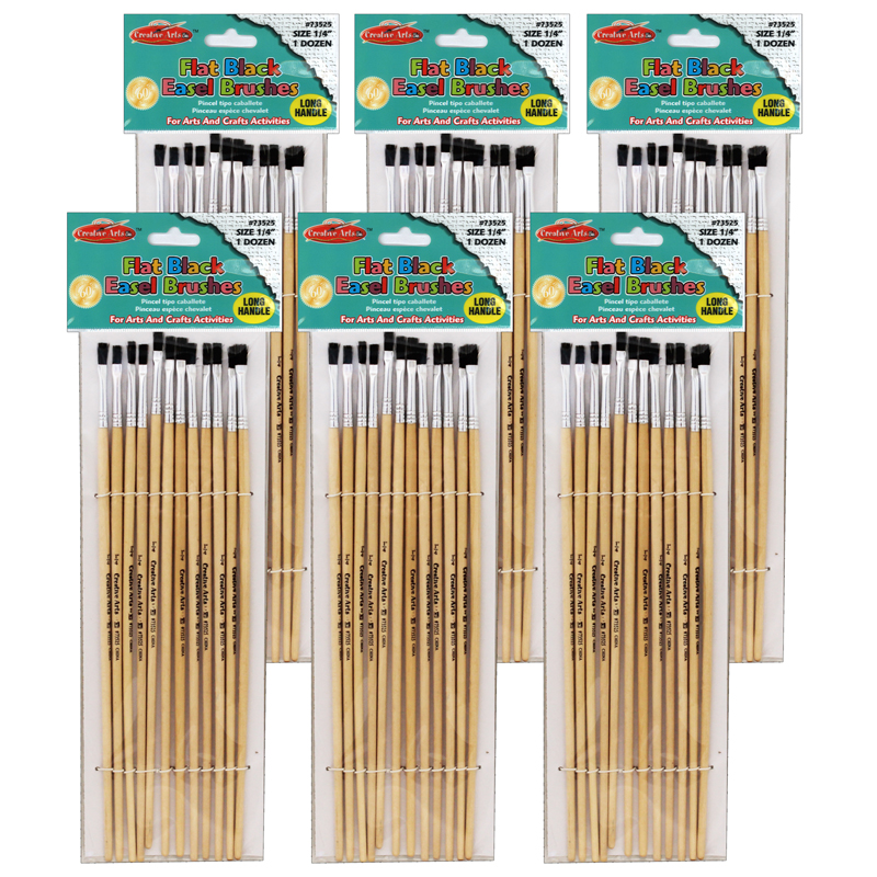 (6 St) Brushes Easel Flat 1/4inbristle 12 Per Set