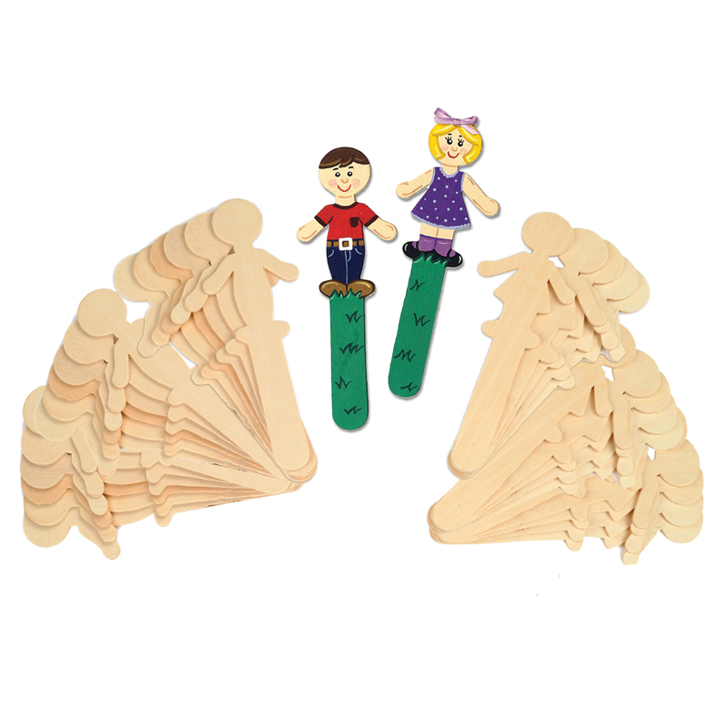 People Shaped Wood Craft 36 Pcssticks 18 Each