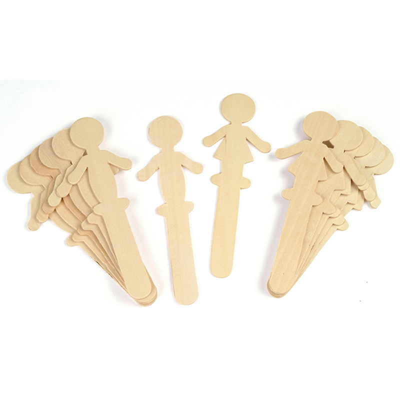 People Shaped Wood Craft 16 Pcssticks 8 Each