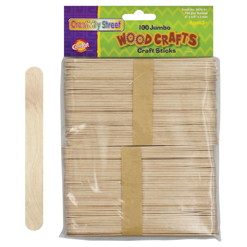 (6 Pk) Jumbo Craft Sticks 6x.75 100per Pk Natural