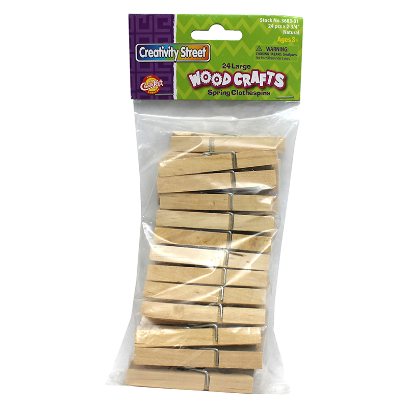 (12 Pk) Large Spring Clothespinsnatural