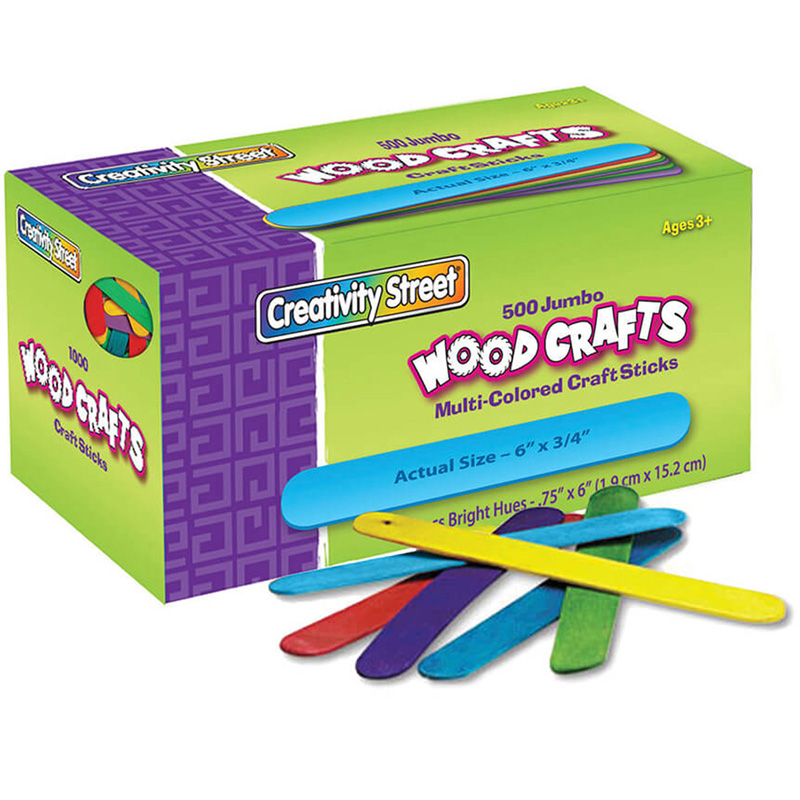 Jumbo Craft Sticks 500 Pcs Brighthues