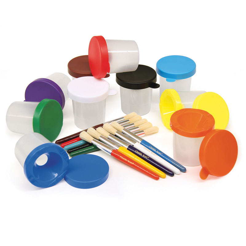 Paint Cups & Brushes Set 10 Cups W/10 Color Coordinated Brushes
