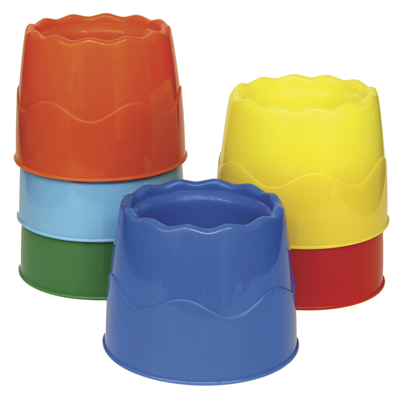 (2 Pk) Stackable Water Pots Asstcolors 4.5x3.5 6 Per Set