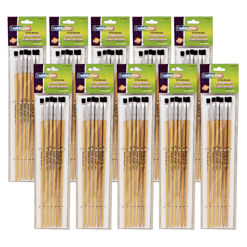 (10 Pk) Blk Bristle Easel Brush1/4x7/8 6 Per Pk