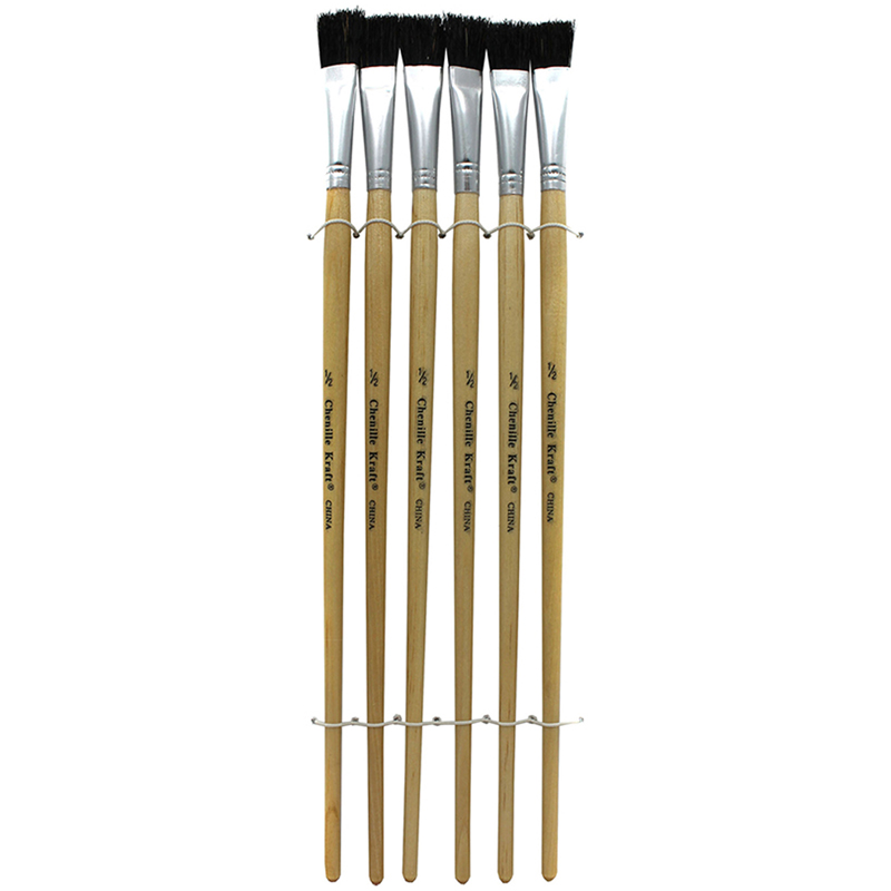 Black Bristle Easel Brush 6-set1/2 W X 12 L