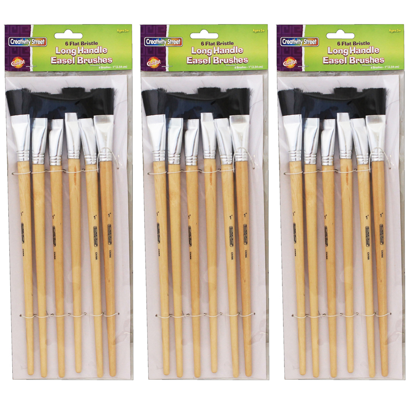 (3 Pk) Black Bristle Easel Brush1x1.5 6 Per Pk