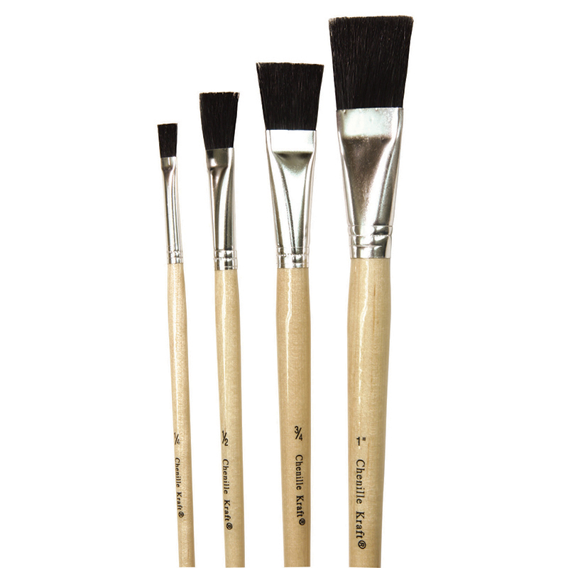 Black Bristle Easel Brush 1 Each1/4 1/2 3/4 And 1 Inch Wide Brush