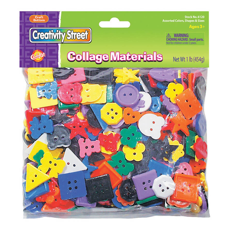 (6 Pk) Plastic Buttons 1lb Bag
