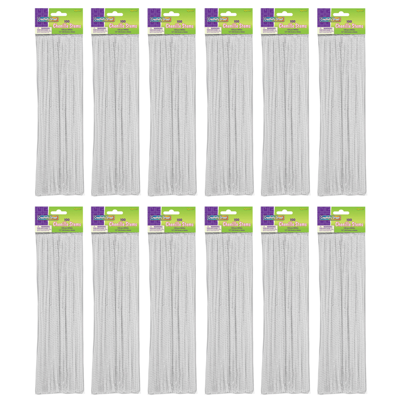 (12 Pk) Chenille Stems White 12in100 Per Pk