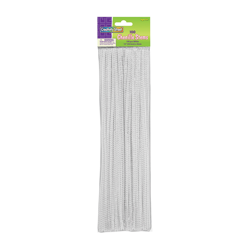 Chenille Stems White 12 Inch