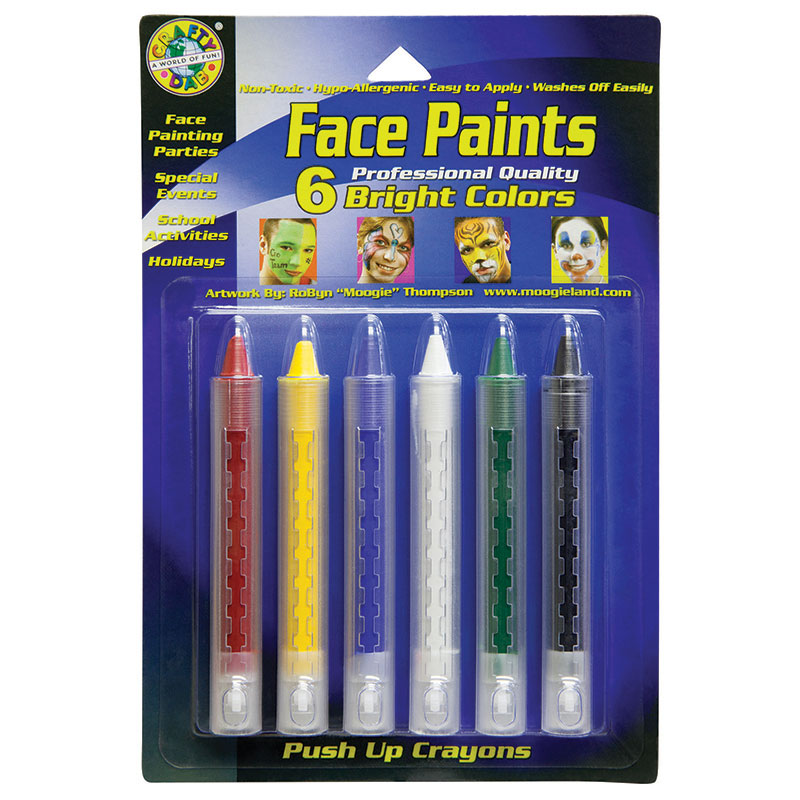 Crafty Dab Push-up Face Paints 6pkbright