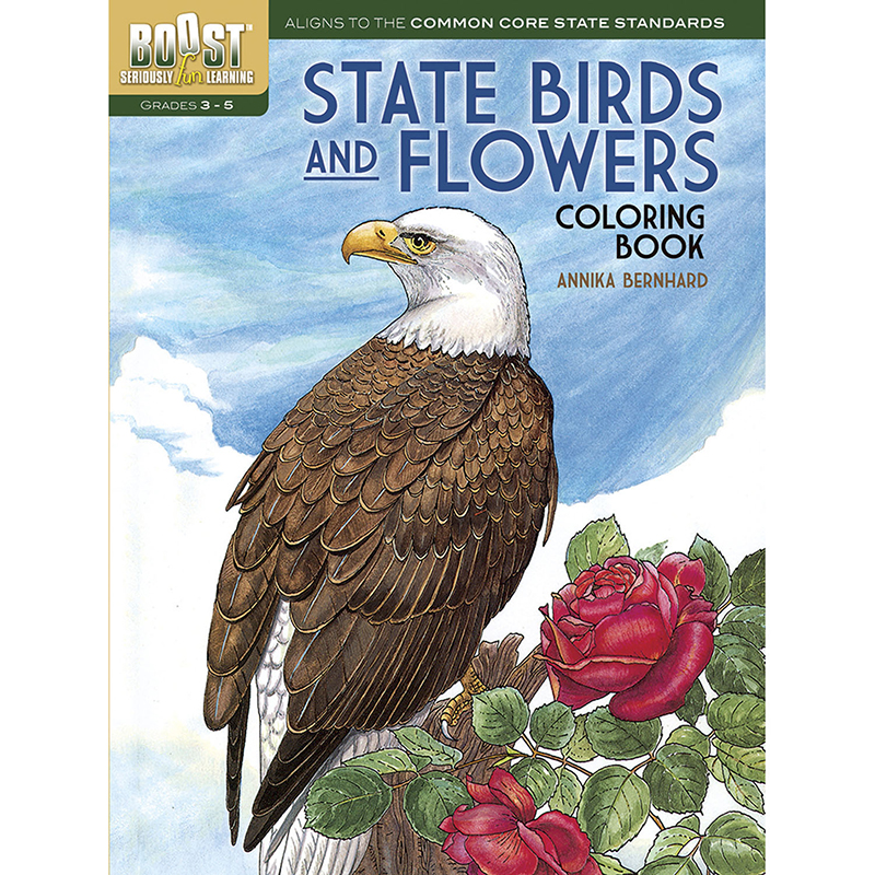 Boost State Birds And Flowerscoloring Book
