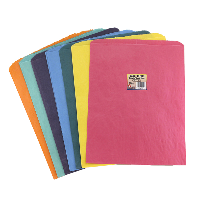 (4 Pk) Colorful Paper Bags 12x15asstd Colors Pinch Bottom